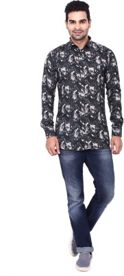 Coloroid Men's Printed Casual Black, White, Grey Shirt