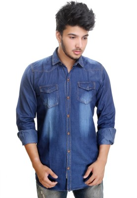Camrick Men,s Solid Casual Denim Dark Blue Shirt
