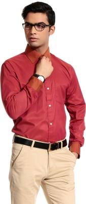 Cotton Crus Men's Solid Formal Red Shirt