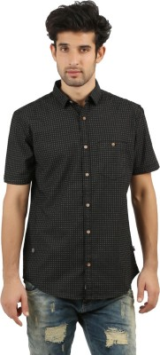 RED SPARROW Men's Printed Casual Black Shirt