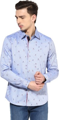 Invern Men's Printed Casual Blue Shirt