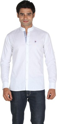 Qpark Men's Solid Casual Linen White Shirt