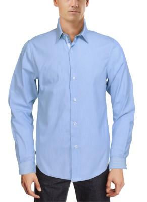Roar and Growl Men,s Striped Formal Blue Shirt