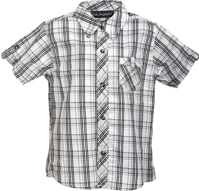 Lil Poppets Boy's Checkered Casual Black, White Shirt