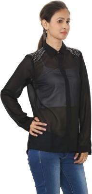MadeinMyIndia Women's Embellished Casual Black Shirt