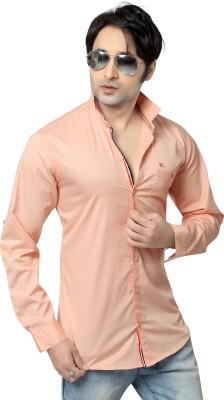 REDOX Men's Solid Casual Orange Shirt