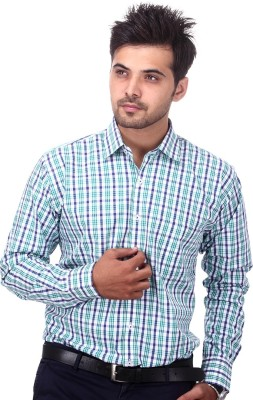 Will Chase Men's Checkered Casual Green Shirt