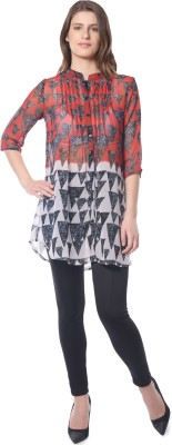 Florrie Fusion Women's Printed Casual Red Shirt