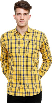 Ebry Men's Checkered Casual Yellow, Blue Shirt