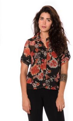 Urban Religion Women's Floral Print Casual Black Shirt