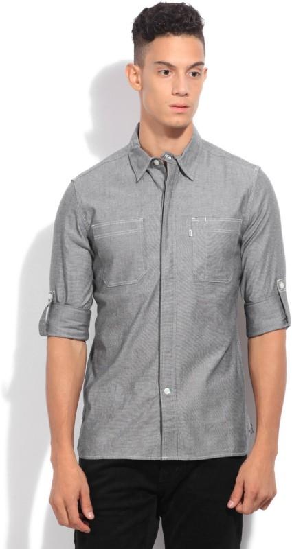 Levi's Men's Solid Casual Grey Shirt