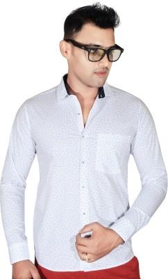 Fabrobe Men's Self Design Casual White Shirt