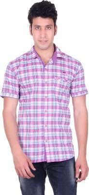 PICKLE Men's Solid, Checkered Formal Pink Shirt