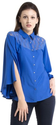 Kazo Casual 3/4 Sleeve Solid Women's Blue Top