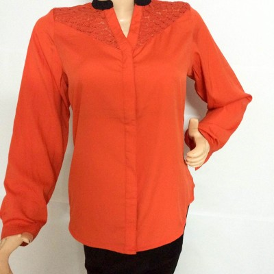 armoire Women's Solid Formal Orange, Black Shirt