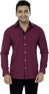 Jazzup Men's Checkered Casual Pink Shirt