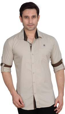 Private Image Men's Solid Casual, Party, Wedding Silver Shirt