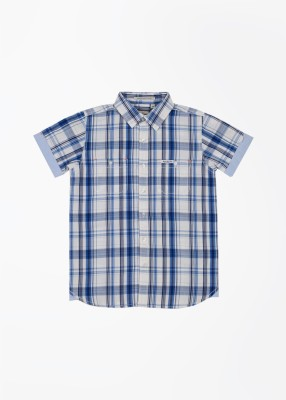 Pepe Jeans Boy's Checkered Casual White, Blue Shirt