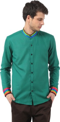 SPAWN Men,s Solid Casual Green Shirt