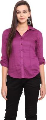 Pink Lemon Women's Solid Casual Purple Shirt