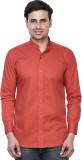 EL FIGO Men's Solid Casual Red Shirt