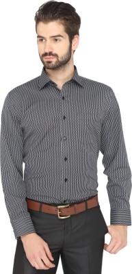 Greenfibre Men's Striped Formal Black, White Shirt
