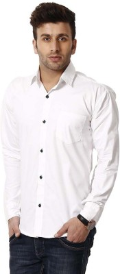 Rv Collection Men's Solid Casual White Shirt