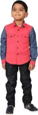 I-Voc Boy's Solid Casual Pink, Blue Shirt