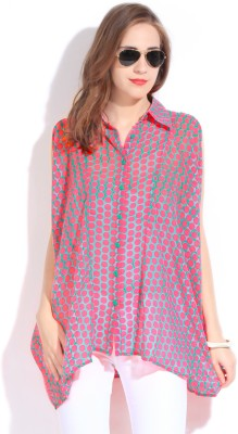 Remanika Women,s Polka Print Casual Pink Shirt