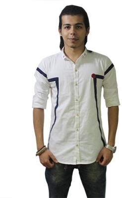 Fisheye Men's Self Design Casual White Shirt