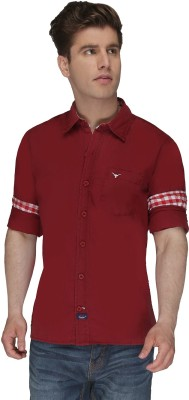 Again? Vintage Men's Solid Casual Red Shirt