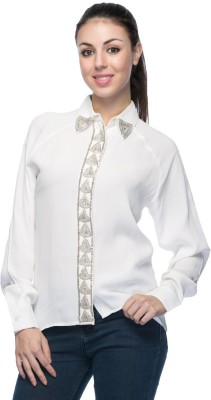 Aaliya Women's Embellished Casual White Shirt