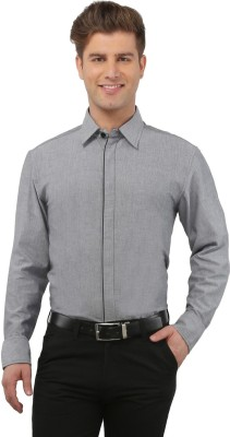 The Cotton Company Men's Solid Casual Grey Shirt