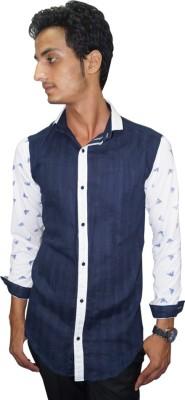 Ali Darzi Men's Printed Casual Blue Shirt