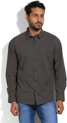United Colors of Benetton Mens Printed Casual Black Shirt