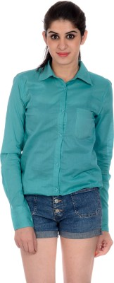 House of Tantrums Women's Solid Casual Green Shirt