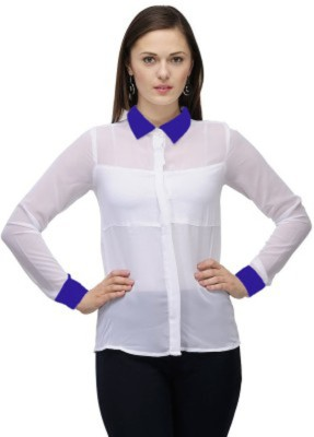styleofsurat Women's Embroidered Casual White Shirt