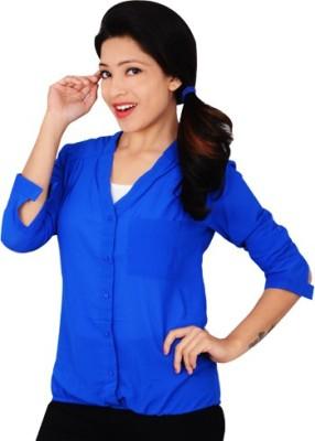 didara Women's Solid Formal Blue Shirt