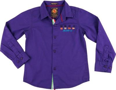 Jim & Jam Boy's Solid Casual Blue Shirt