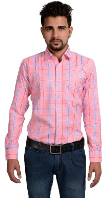 Riwas Collection Men,s Checkered Formal Pink, Blue Shirt