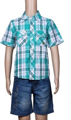 Chutti Pluss Boy's Checkered Casual Green Shirt