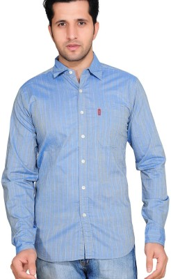 Ubho Core Men's Striped Casual Blue Shirt