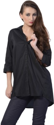 Trendy Divva Women's Solid Casual Black Shirt at flipkart