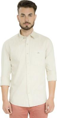 Club X Men's Self Design Formal, Casual Beige Shirt