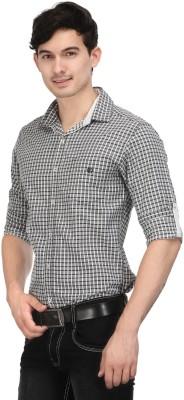 Macoro Men,s Checkered Casual Grey Shirt