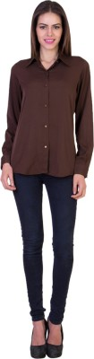 Crosstitch Women's Solid Formal Brown Shirt