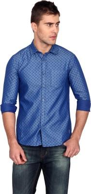 Unmask Men's Printed Casual Blue Shirt