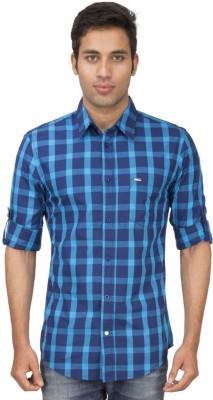 Truccer Basics Men's Checkered Casual Blue Shirt