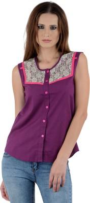 Maxi Fashion Casual Sleeveless Solid Girl's Purple Top