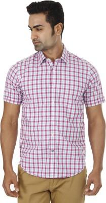 London Fog Men,s Checkered Casual Pink Shirt